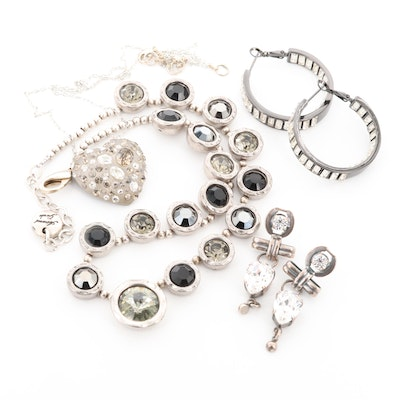 Necklaces and Earrings Featuring Alexis Bittar, Sterling, Rhinestones and Lucite