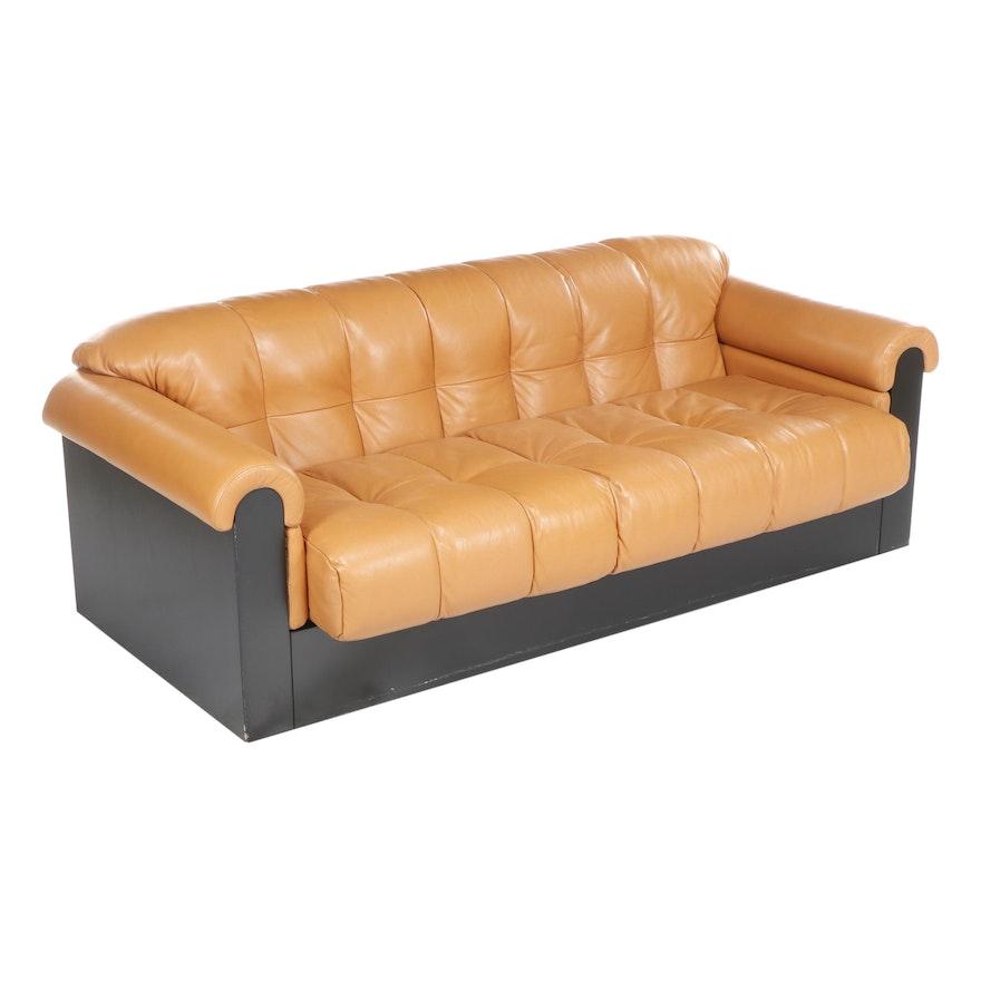 Mastercraft Upholstery Modern Orange Leather Sofa