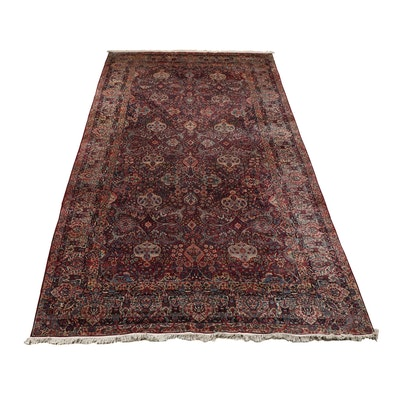 Hand-Knotted Persian Lavar Kerman Wool and Cotton Room Sized Rug