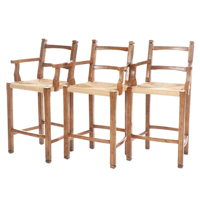 Contemporary Country Style Wooden Barstools, Set of Three