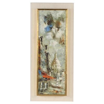 Mid-Century Cityscape Oil Painting