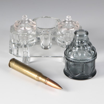 Glass Inkwells and Re-purposed Bullet Pen, Vintage