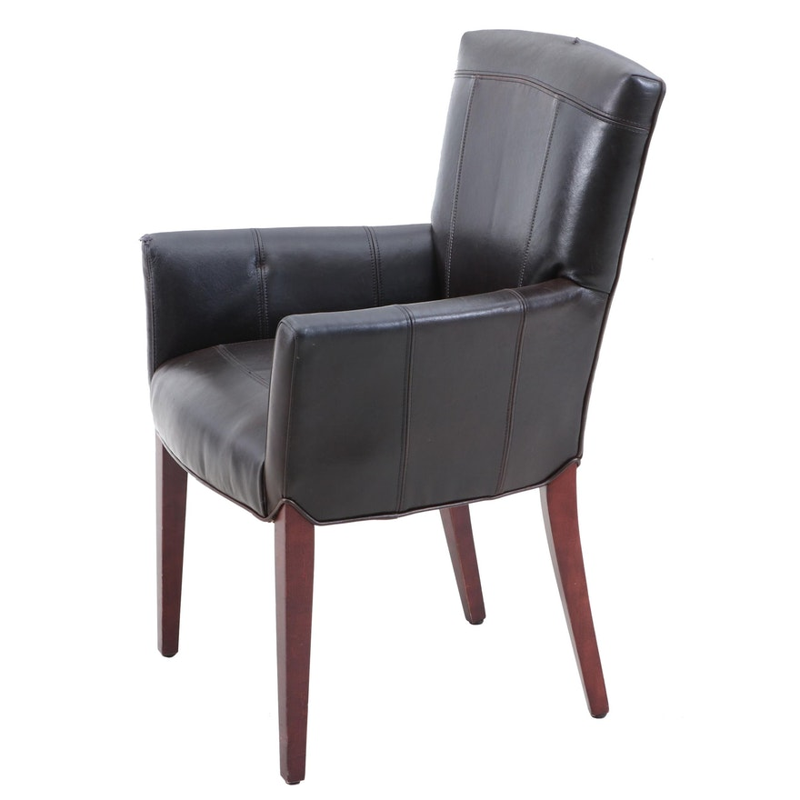 Contemporary Faux-Leather Dining Armchair