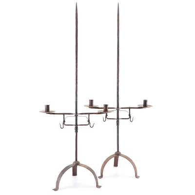 Hand Forged Iron Floor Candleholders