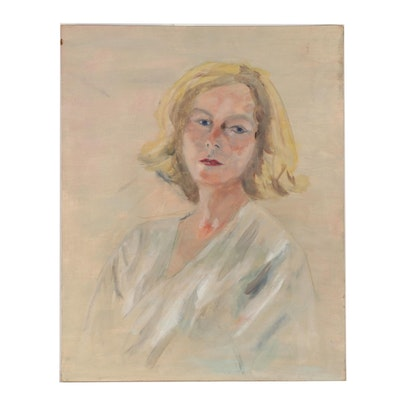 Mid-Century Portrait Oil Painting