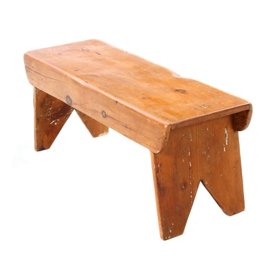 Pine Bench with Boot-Jack Ends, Early 19th Century