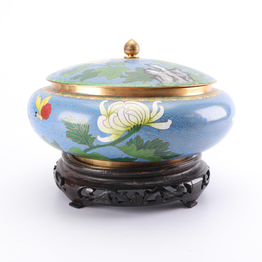Chinese Cloisonné Lidded Bowl with Wooden Stand