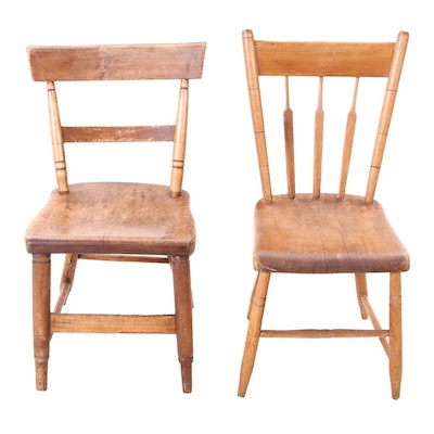 Two Poplar Plank Seat Chairs, Early 19th Century