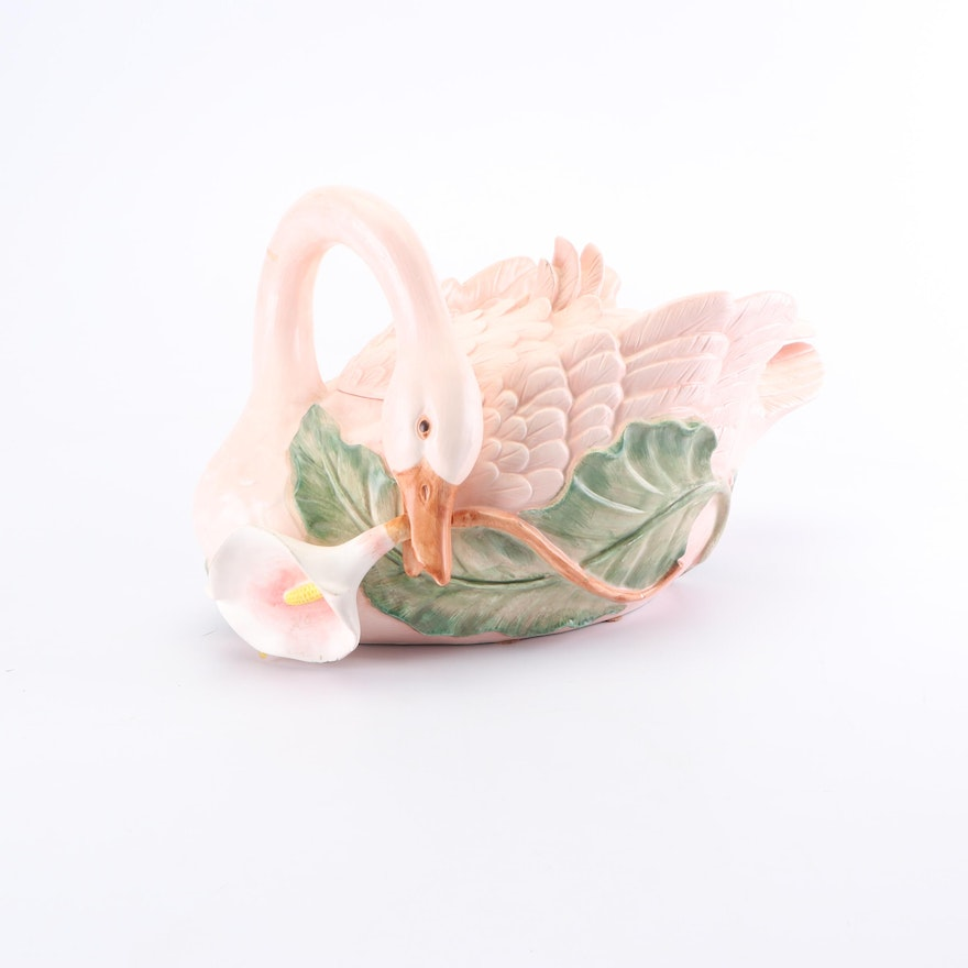 Pink Swan Soup Tureen with Serving Spoon