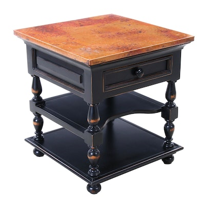 Contemporary Ebonized and Copper-Mounted Three-Tier Side Table