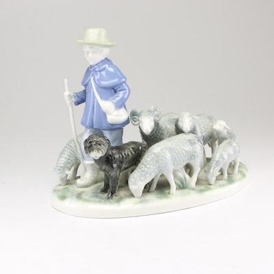Gerold Porzellan Bavaria Sheep Herder with Dog Porcelain Figurine