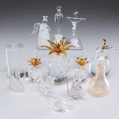 Swarovski Crystal Pineapples with Other Glass Figurines, Contemporary
