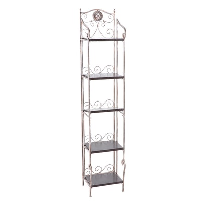 Bonded Leather Brushed Metal Scrollwork Standing Wall Shelf