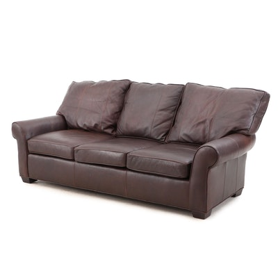 Arhaus Furniture Leather Sofa, Contemporary