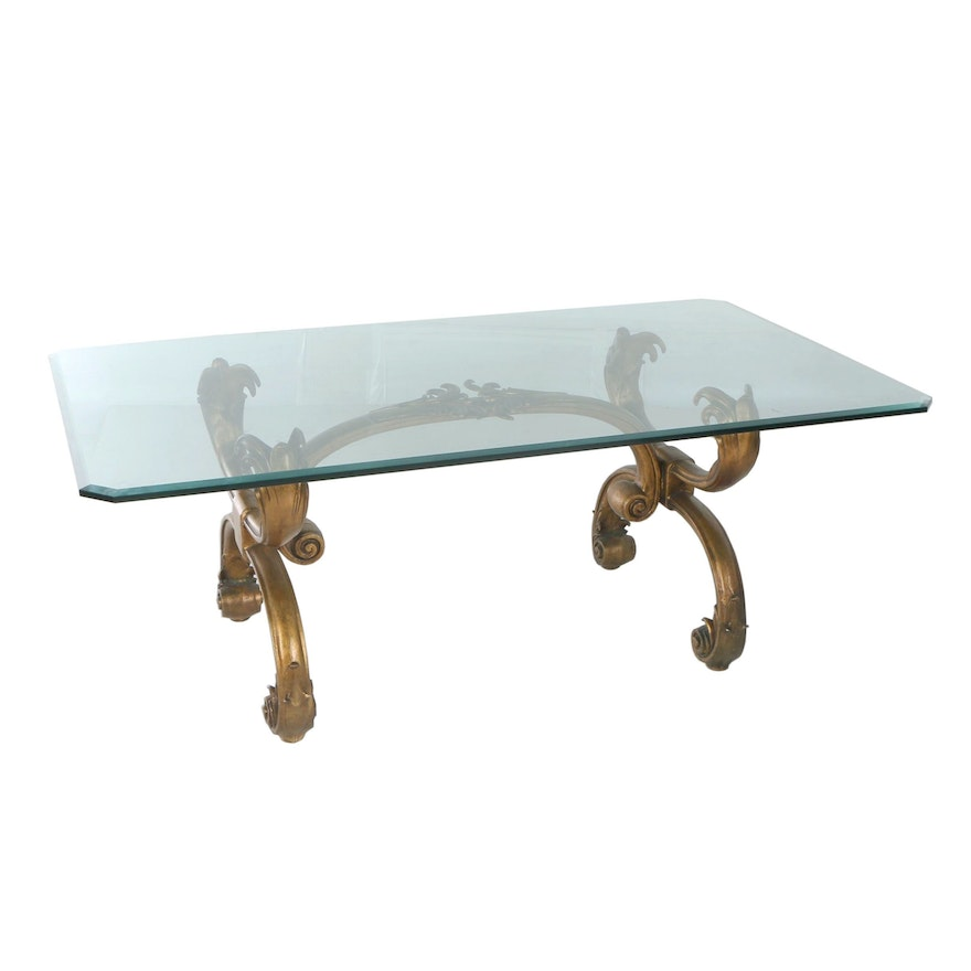 Baroque Style Gilt-Metal and Glass Top Dining Table, 20th Century