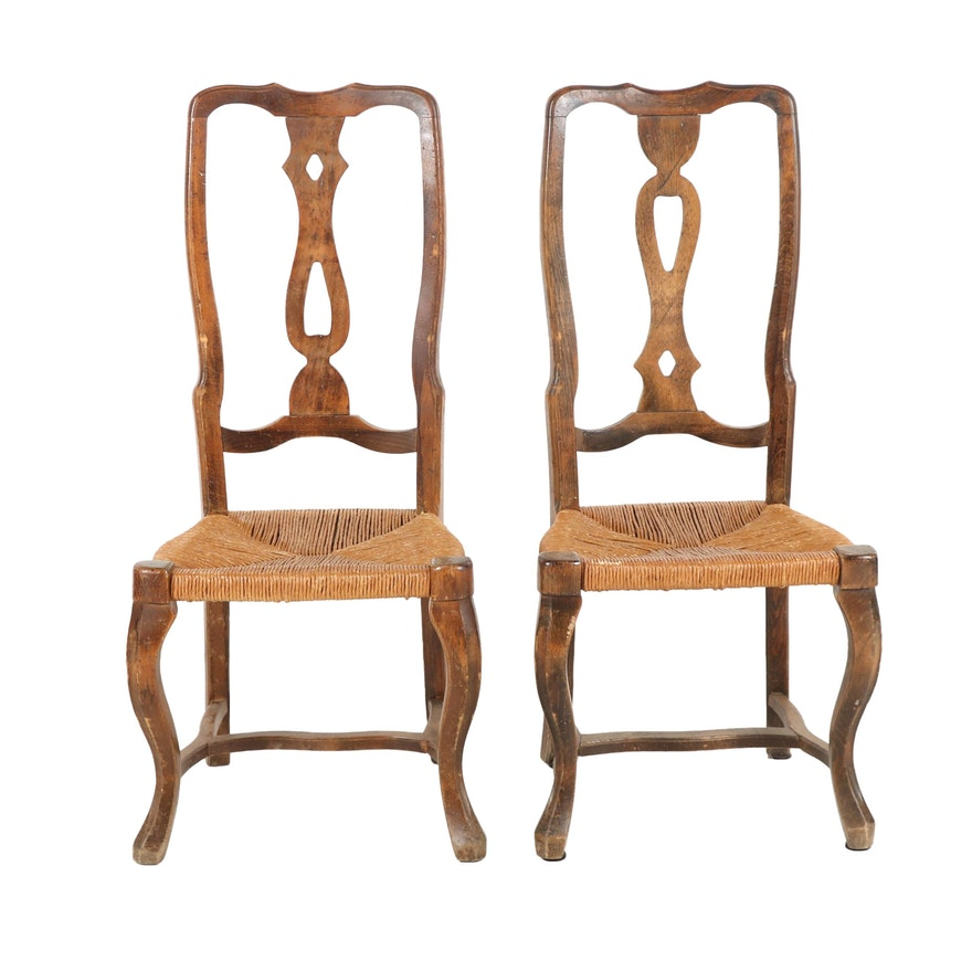 Oak and Willow Dining Chairs, Early to Mid 20th Century
