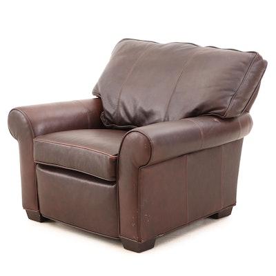 "Arhaus Furniture, ""Brentwood"" Brown Leather Power Reclining Armchair"