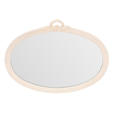"Ethan Allen ""Swedish Home"" White Painted Oval Hanging Wall Mirror"