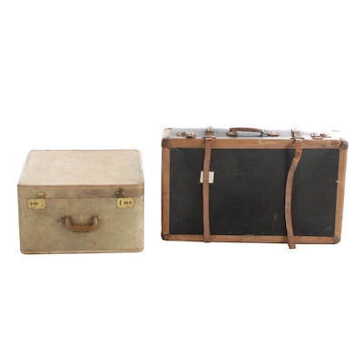 Hardside Train Case and Suitcase, Mid-20th Century