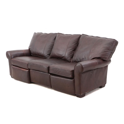 Arhaus Furniture Leather Reclining Sofa