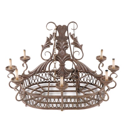 Spanish Style Oxidized Cast Metal Oval Seven Light Chandelier, Late 20th Century