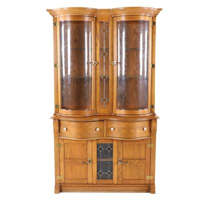 "Pulaski Furniture, ""Keepsakes"" Oak Double-Bowfront Display Cabinet"