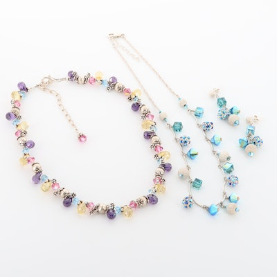 Sterling Silver Rhinestone, Glass and Cubic Zirconia Earrings and Necklace