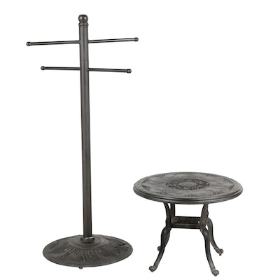 Outdoor Metal Towel Rack with Patio Side Table