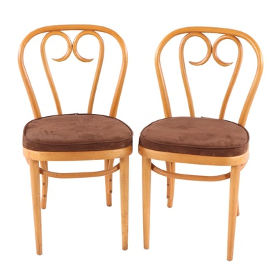 Pair of Bentwood Birch Side Chairs, Mid-20th Century