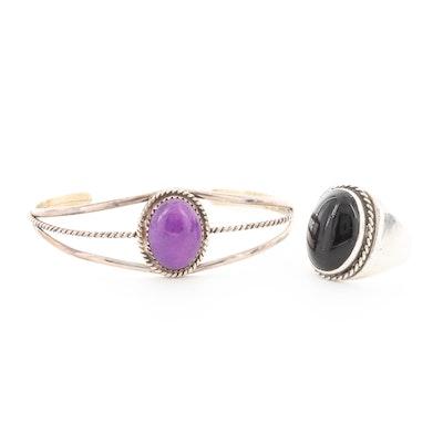 Southwestern Style Sterling Silver Quartz Cuff and Black Onyx Ring