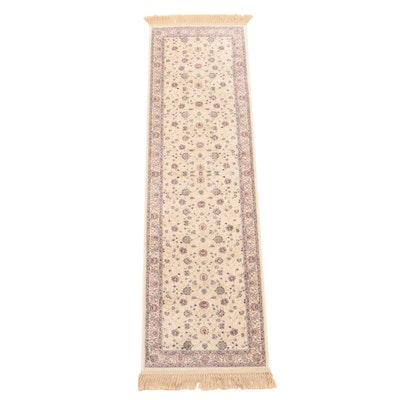 Machine Made Persian Style Wool and Artificial Silk Floral Carpet Runner