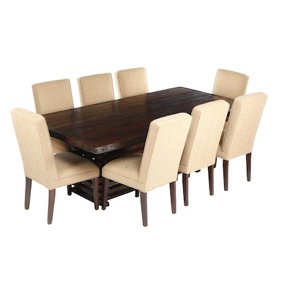 Contemporary Transitional Oak Platform Dining Table with 8 Side Chairs