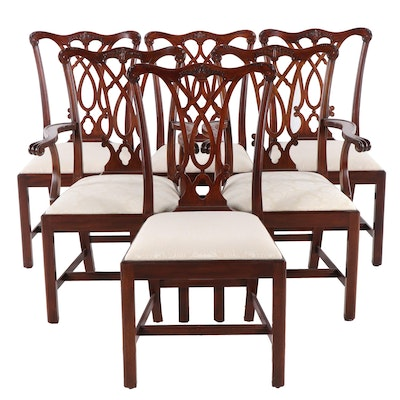 Henkel-Harris, Six Chippendale Style Mahogany Dining Chairs