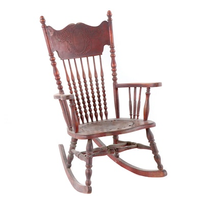 Late Victorian Pressed Back Rocking Armchair, Late 19th/Early 20th Century