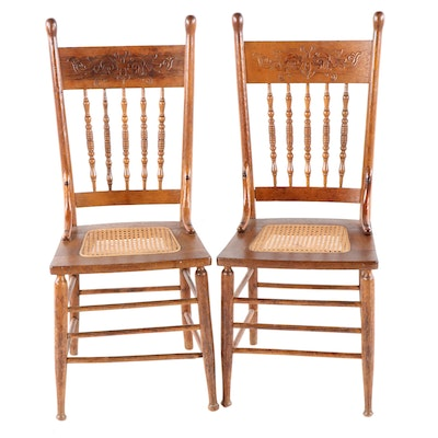 Pair of Late Victorian Oak Pressed Back Dining Side Chairs