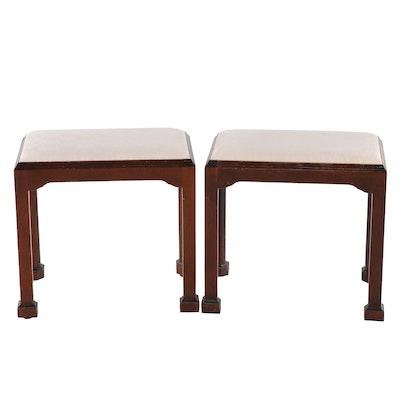 Madison Square Furniture Inc., Pair of George III Style Mahogany Stools
