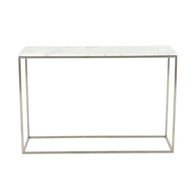 Contemporary Metal and White Marble Console Table