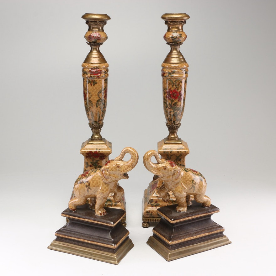 Castilian Elephant Bookends and Candlesticks, Contemporary
