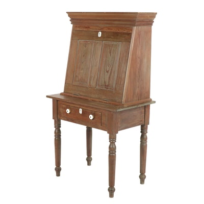 Yellow Pine Plantation Desk With Secretary, 1930's
