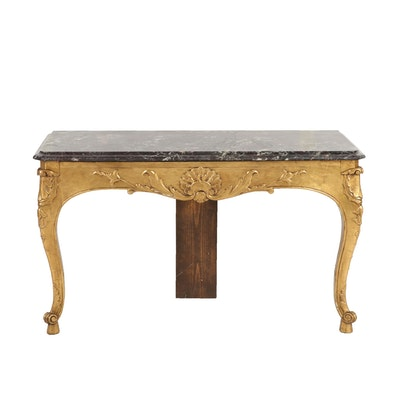 Louis XV Style Giltwood and Variegated Marble Wall-Mount Console Table
