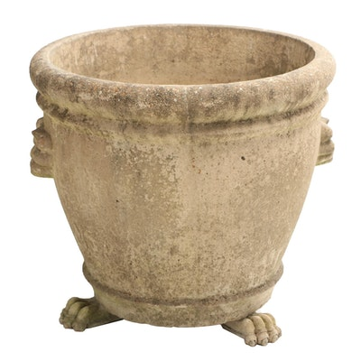 Monumental Cast Stone Planter with Lion Paw Feet