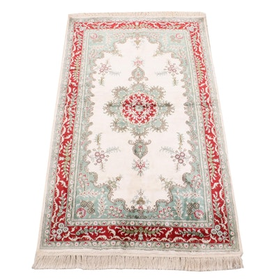 Hand-Knotted Turkish Hereke Wool and Silk Rug