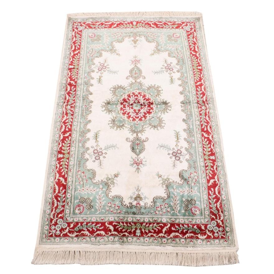 Hand-Knotted Turkish Hereke Wool and Silk Rug