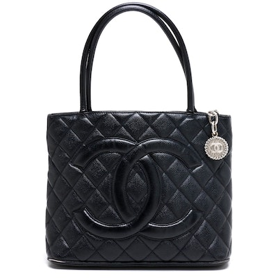 Chanel CC Black Quilted Caviar Leather Medallion Tote Bag