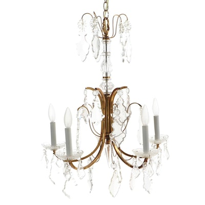 Louis XV Style Gilt Metal and Cut Glass Chandelier