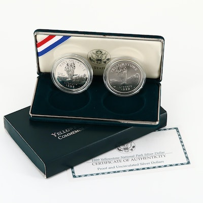 1999 Yellowstone National Park Silver Dollar Two-Coin Set