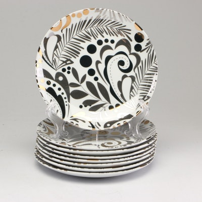 """Crate and Barrel """"Tinsel"""" Luncheon Plates"""