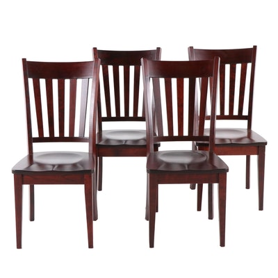 Four Conrad Grebel Furniture, Mahogany-Stained Dining Side Chairs