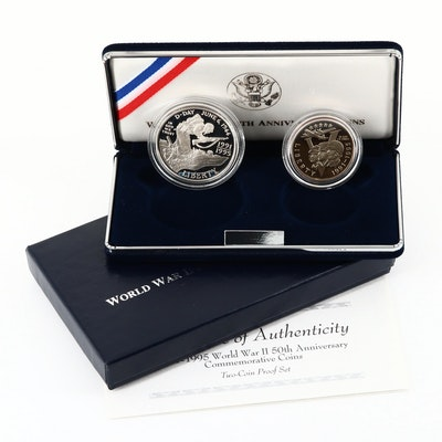 1991-1995 World War II 50th Anniversary Commemorative Two-Coin Set