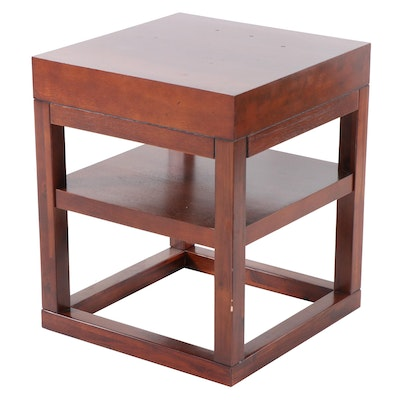 Contemporary Mahogany-Stained Two-Tier Side Table